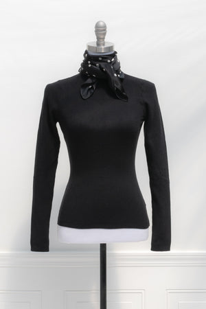 Ribbed black turtleneck sweater top soft french classic style