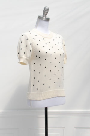feminine vintage inspired cute short sleeve cream sweater top with black polka dots