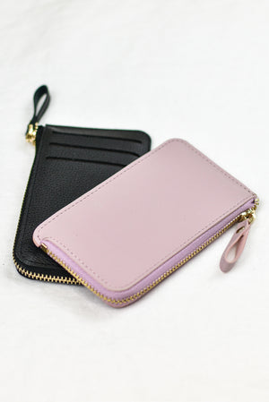 feminine minimalist vegan leather pink black zip coin purse card wallet accessory
