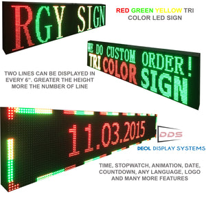 "WiFi TRI-COLOR 12"" X 50""  LED SIGN MOBILE PC PROGRAMMABLE NEON GRAPHIC DISPLAY - Deol Display Systems Neon Open Led Signs"