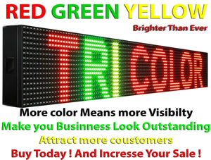 "WiFi TRI-COLOR 25"" X 101""  LED SIGN MOBILE PC PROGRAMMABLE NEON GRAPHIC DISPLAY - Deol Display Systems Neon Open Led Signs"