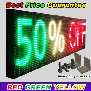 "WiFi TRI-COLOR 12"" X 38""  LED SIGN MOBILE PC PROGRAMMABLE NEON GRAPHIC DISPLAY - Deol Display Systems Neon Open Led Signs"