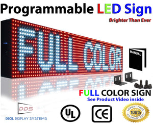 "Neon Open 6"" x 76"" Full Color Digital Outdoor Indoor Business Shop Store Led Sign Programmable Still Scrolling Text Animation Display - Deol Display Systems Neon Open Led Signs"