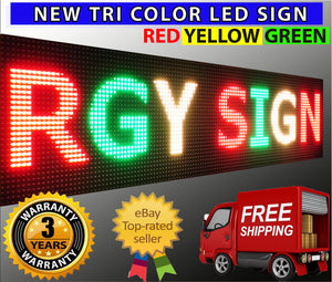 "WiFi TRI-COLOR 12"" X 101""  LED SIGN MOBILE PC PROGRAMMABLE NEON GRAPHIC DISPLAY - Deol Display Systems Neon Open Led Signs"