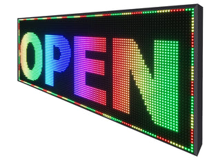 "Full Color 25""  x 63"" Digital Image Video Text Display Open Neon Programmable Business Store Shop Led Sign Board - Deol Display Systems Neon Open Led Signs"