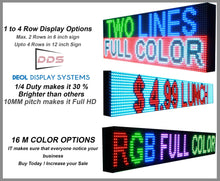 "Load image into Gallery viewer, Neon Open 6"" x 10ft Full Color Digital Outdoor Indoor Business Shop Store Led Sign Programmable Still Scrolling Text Animation Display - Deol Display Systems Neon Open Led Signs"