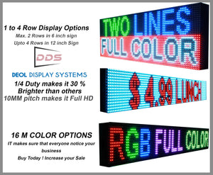 "Neon Open 6"" x 63"" Full Color Digital Outdoor Indoor Business Shop Store Led Sign Programmable Still Scrolling Text Animation Display - Deol Display Systems Neon Open Led Signs"