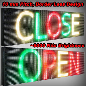 "WiFi TRI-COLOR 12"" X 88""  LED SIGN MOBILE PC PROGRAMMABLE NEON GRAPHIC DISPLAY - Deol Display Systems Neon Open Led Signs"