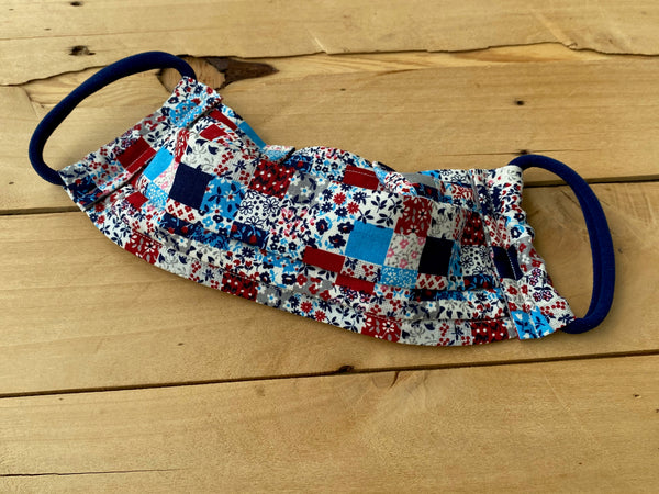 Blue & Red Floral Check Mask