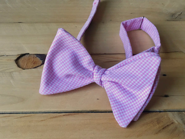 pink gingham ganger bow tie