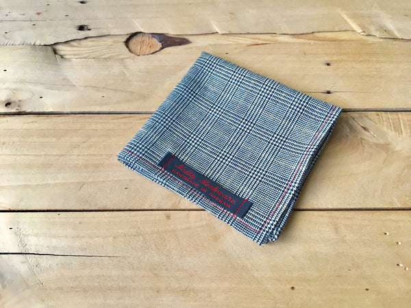 gold stripe glen plaid pocket square