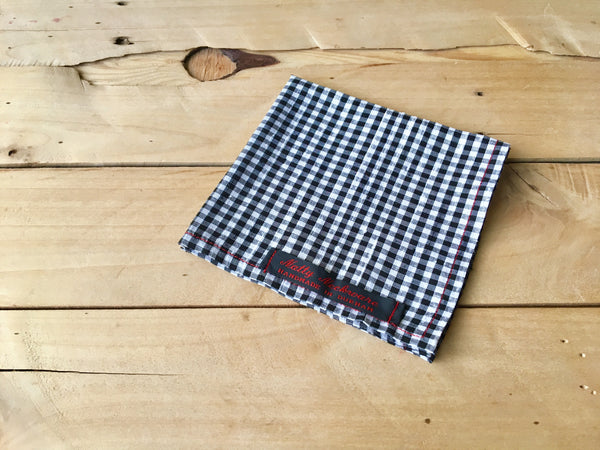 black & white checkmate pocket square