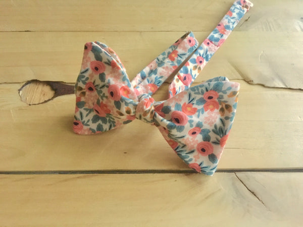 pink round rosy bow tie