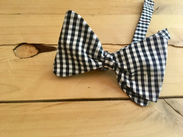 black & white checkmate bow tie