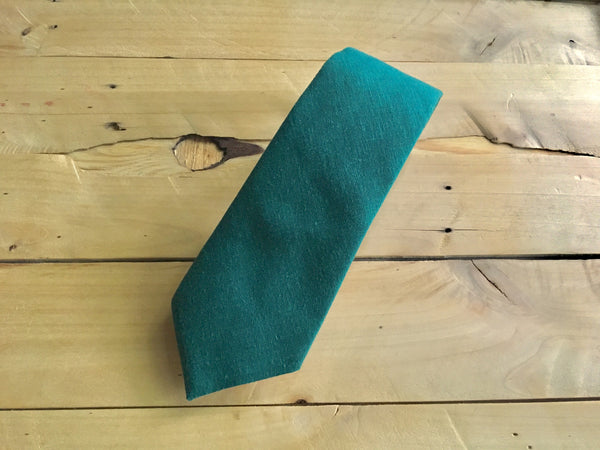 hunter green linen necktie