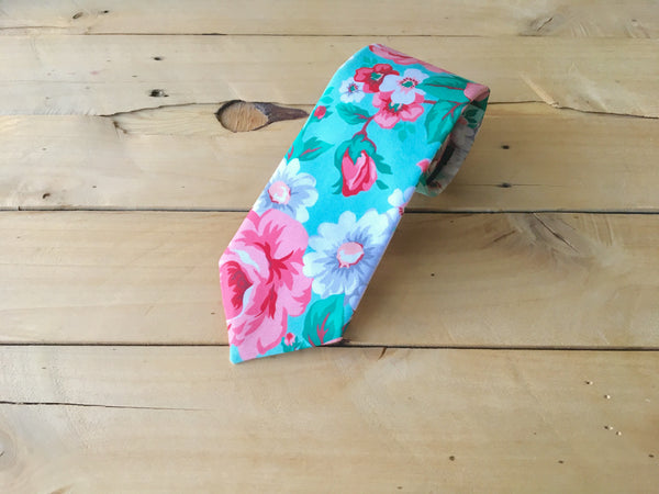 roses on mint necktie