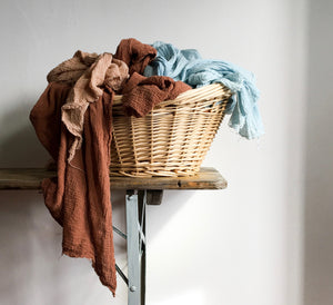 Naturally dyed slow fashion irish linen textiles, scarves  bags & accessories sustainably made in Ireland from plant dyes