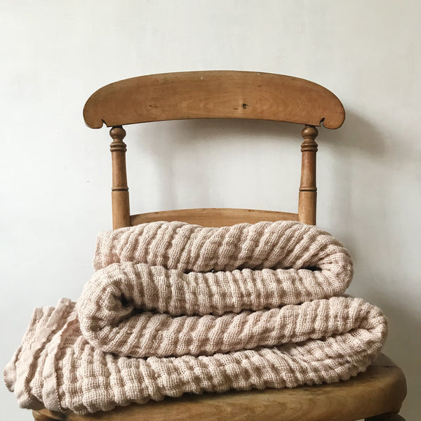 Plant Dyed Irish Linen Blanket in Soft Blush