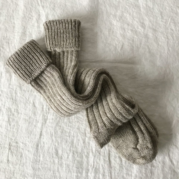 Long Pure Wool Socks in Stone