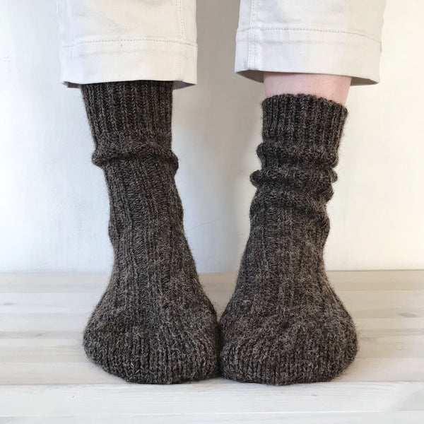 Pure Wool Socks in Dark Brown