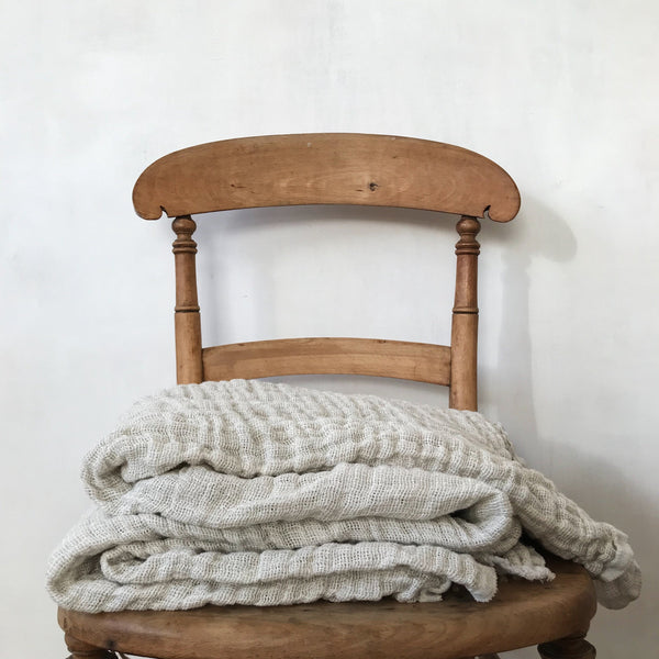Double Weave Blanket in Un-Dyed Irish Linen