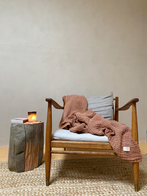 Plant Dyed Irish Linen Blanket in Rich Terracotta
