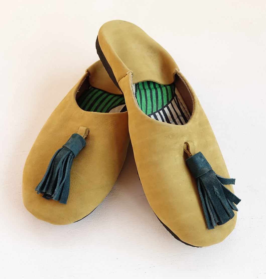 Yellow Suede duo colored Slip-on with tassel | Leather Flat Shoes