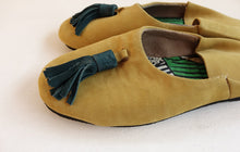 Load image into Gallery viewer, Yellow Suede duo colored Slip-on with tassel | Leather Flat Shoes