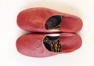 Plain Color Cow Leather Slip-on | Solid Red | Leather Flat Shoes