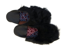 Slip-on in Black Sheep Hide with Fur  | Leather Flat Shoes