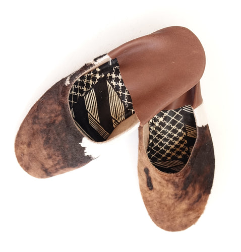 Cow Hide Brown & White Slip-on | Leather Flat Shoes