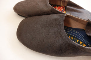 Plain Color Cow Leather Slip-on | Solid Dark Brown | Leather Flat Shoes