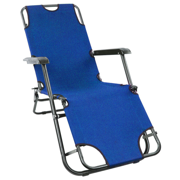 Reclining Folding Patio Sun Lounger Chair Furniture [Blue]