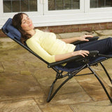 FOLDING GRAVITY SUN LOUNGER CHAIR RECLINER NAVY SET OF TWO