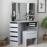 DRESSING TABLE WITH MIRROR +STOOL- GREY