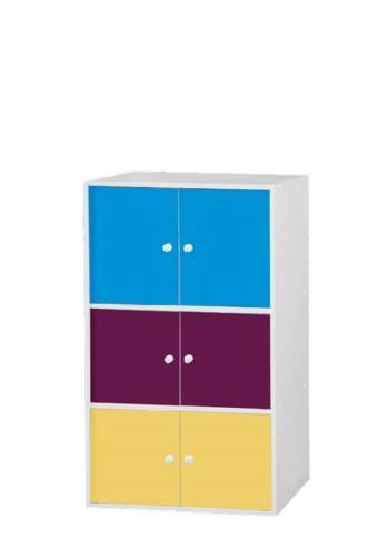 MULTI COLOURED BOOKCASE STORAGE UNIT CABINET STAND W/ DOORS [6 Door Cabinet]