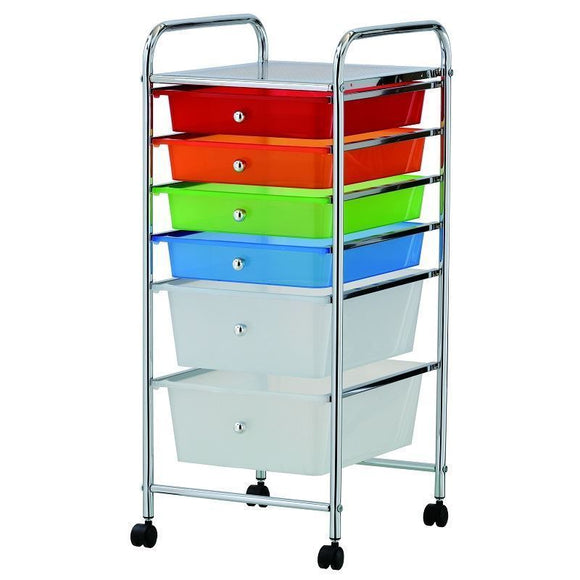 6 DRAWER CHROME STORAGE TROLLEY ON WHEELS