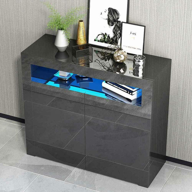 2 Door High Gloss LED Sideboard Cabinet – Black