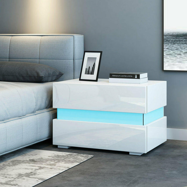 LED BEDSIDE TABLE - WHITE & BLACK