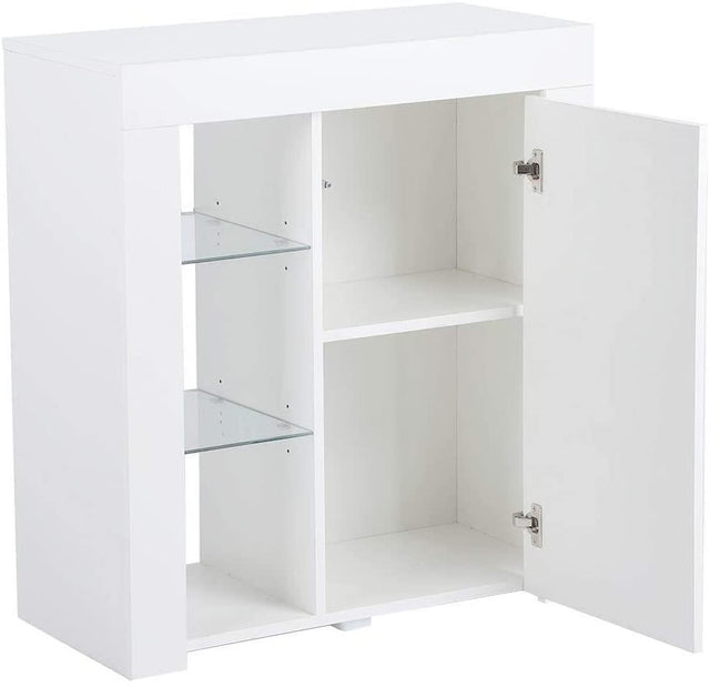 LED Sideboard Cabinet 2 Glass Shelves – White
