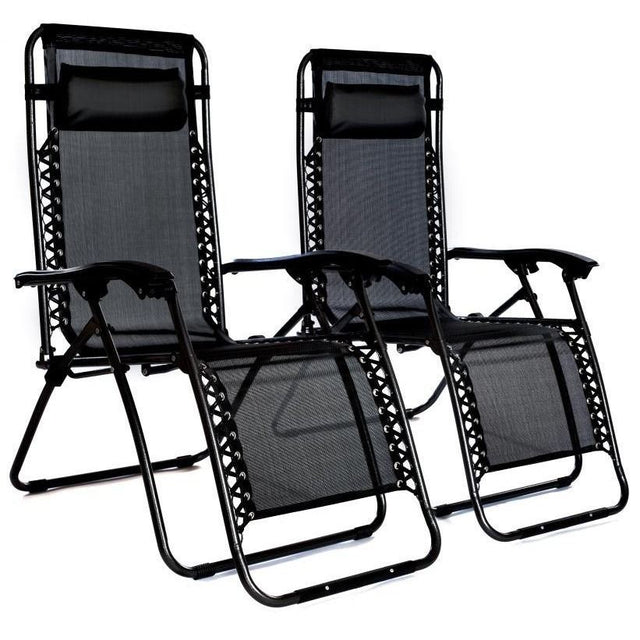 FOLDING GRAVITY SUN LOUNGER CHAIR RECLINER BLACK SET OF TWO