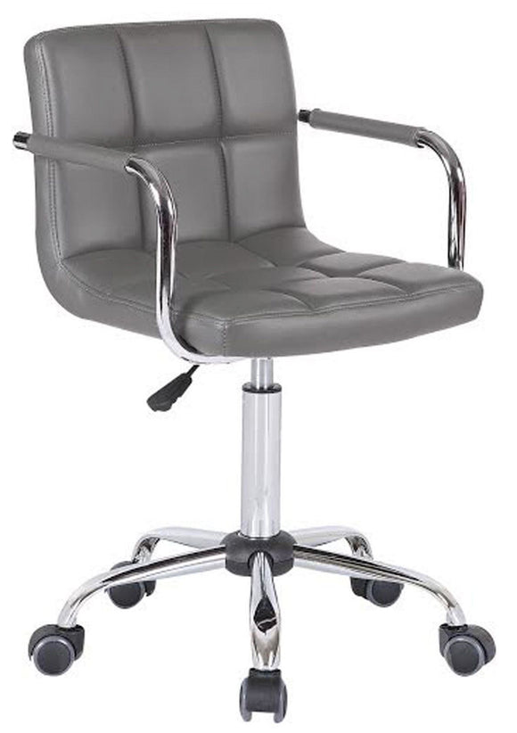 PU Faux Leather Swivel Wheels Chair - Grey