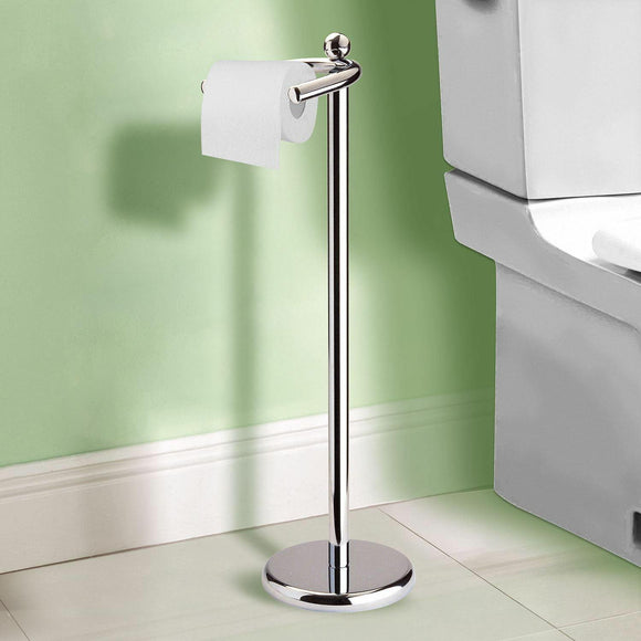 FREE STANDING CHROME TOILET ROLL HOLDER