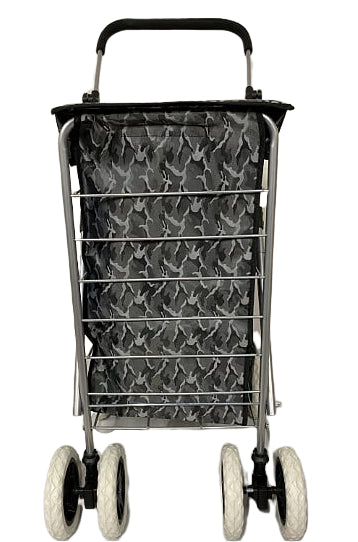 6 WHEEL SHOPPING TROLLEY - GREY PATTERN