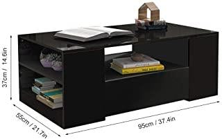 2 Drawer High Gloss Coffee Table - Black