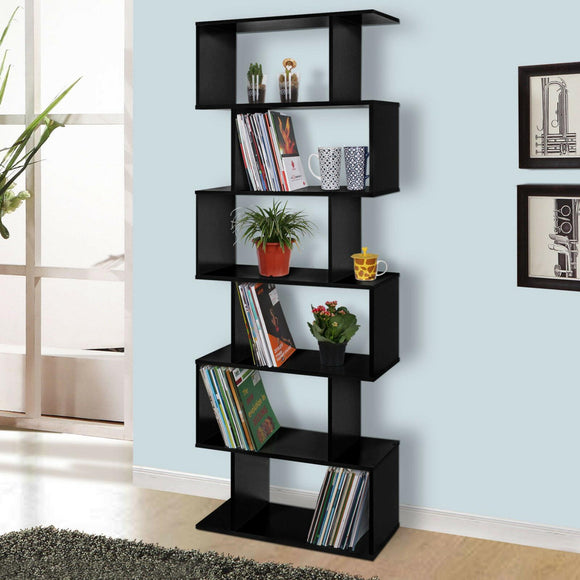 S SHAPE BOOKSHELF - BLACK