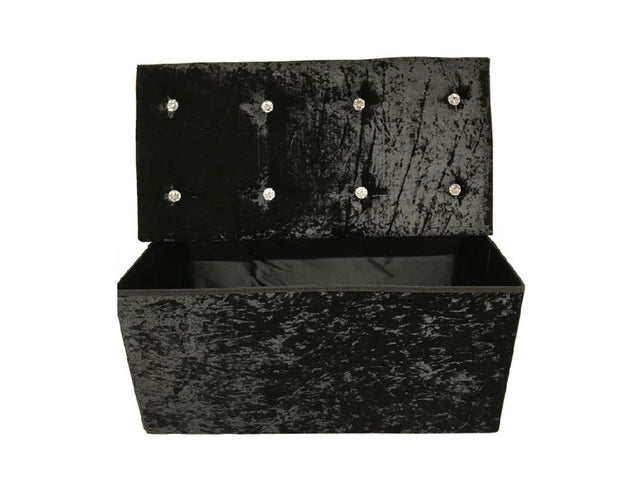 DOUBLE SEATER CRUSHED VELVET FOLDABLE OTTOMAN – BLACK
