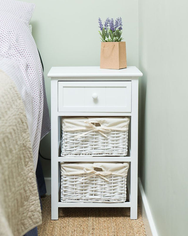 Shabby Chic Tall Bedside Unit Table with Wicker Storage