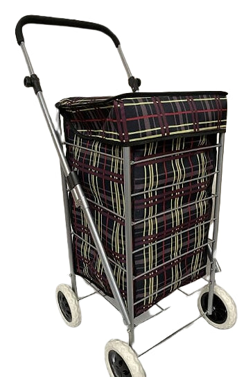 4 WHEEL SHOPPING TROLLEY - PURPLE LINES