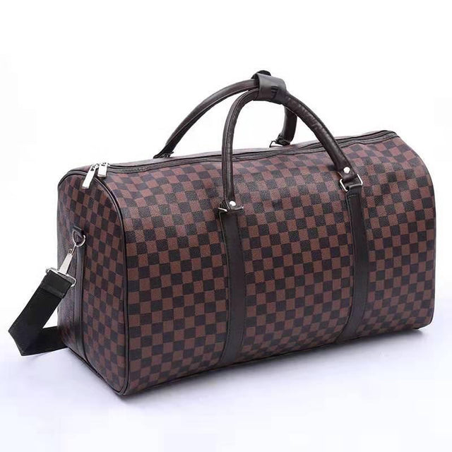 FLAT HOLDALL BAG - BROWN CHECK PRINT